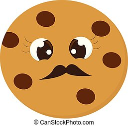Emoji of Mr.Cookie set isolated over white background, vector or color illustration