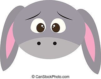 Emoji of the face of a sad donkey, vector or color illustration