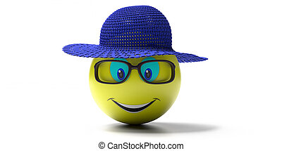 Emoji of yellow smiley face with summer set isolated on white background. Emoticon with blue straw hat, goggles and a big smile. 3d illustration