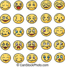 Emoji or emoticons hand drawn icons