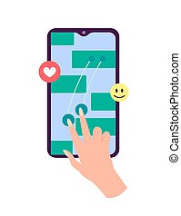 emoji, plat, toile, graphiques, aimer, smartphone, social, device., possession main, mobile, sites web, button., banners., conception, réseau, vecteur, illustration, coeur, écran, message