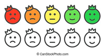 Emoji prince icons for rate of satisfaction level