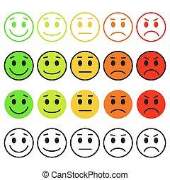emoji, rango, set, emoticons., livello