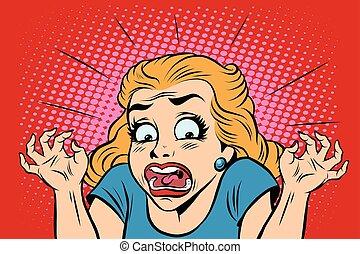 Emoji retro devil horror girl emoticons. Pop art vector...