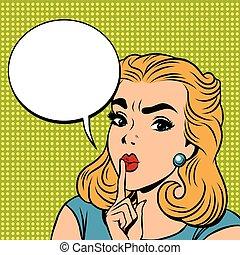 Emoji retro Shhh silence girl emoticons. Pop art vector...
