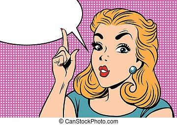 Emoji retro strict right girl emoticons. Pop art vector...