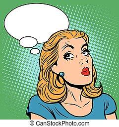 Emoji retro think girl emoticons. Pop art vector...
