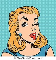 Emoji retro tongue girl emoticons. Pop art vector...