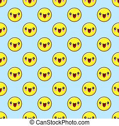 emoji seamless pattern on a blue background. vector illustration