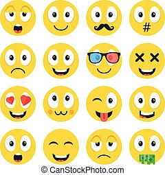 Emoji set. Funny cartoon emoticons, cute smiley faces with different face expressions, emotions. Happiness, anger, love, adoration, sadness, etc. Creative vector icons set