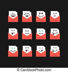 emoji set messages in red letters