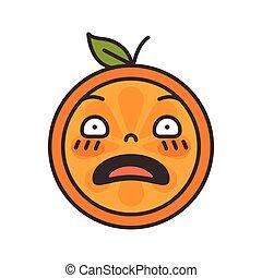Emoji - shock orange smile. Isolated vector.
