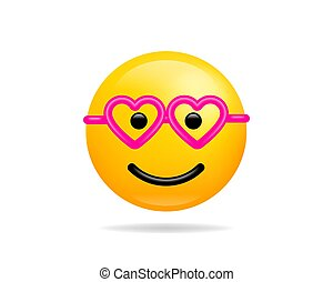 Emoji smile icon vector symbol. Smiley face with heart glasses love yellow cartoon character.