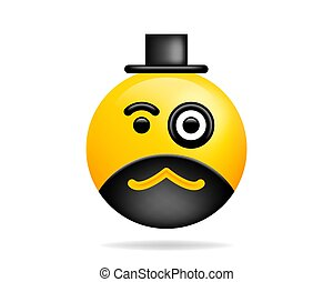 Emoji smile icon vector symbol. Smiley face With Monocle yellow cartoon character.