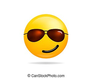 Emoji smile icon vector symbol. Smiley face With Sunglasses yellow cartoon character.