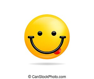 Emoji smile icon vector symbol. Smiley face with Tongue yellow cartoon character.