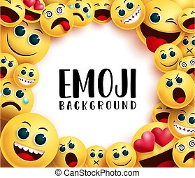 Emoji smiley background vector background template. Emoji background text in white circle empty space for messages with smiley emoticon yellow face in different facial expression.