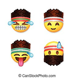 Emoji smiley faces, fitness concept, vector illustration.