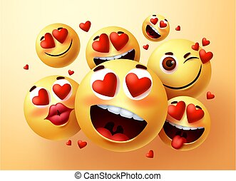 Emoji smiley in love vector creator set. Smiley emojis with hearts and in love face