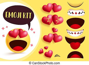 Emoji smiley love heart create kit. Smileys emoji yellow face with editable love heart eyes and mouth with in love facial expression.