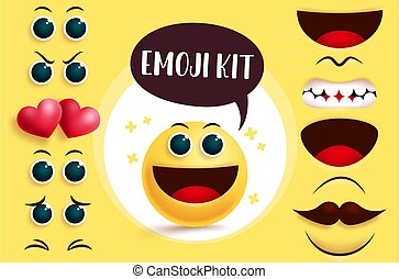 Emoji smiley vector creation kit. Smileys emoji with editable cute yellow face, eyes and mouth to create joyful facial expression.