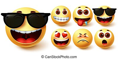 Emoji smiley vector set. Cute yellow smileys face with different feelings and facial expressions