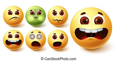 Emoji smiley vector set. Smileys yellow emoji face in different weird facial expressions