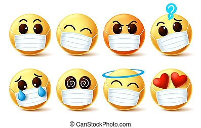 Emoji smiley with covid-19 face mask vector set. Emoji smiley with facial expressions