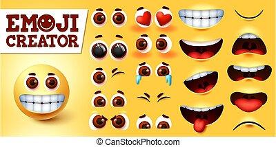 Emoji smileys creator happy vector set. Emojis emoticon character kit in editable faces