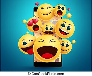 Emoji smileys in mobile phone vector concept. Smiley emojis yellow face emoticons in social media mobile phone apps with different facial expression like happy, jolly and surprise in blue background.