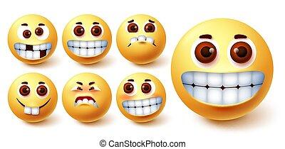 Emoji smileys vector set. Emojis smiley yellow avatar face with funny, crazy, happy, weird