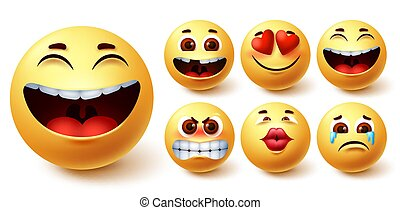 Emoji smileys yellow vector set. Smiley emoticon yellow cute faces in happy, cute