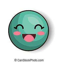 emoji smiling eyes blue design isolated