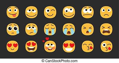 emoji, smily, conjunto