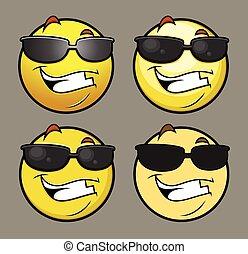 emoji, sol, vectors, anteojos, emoticon