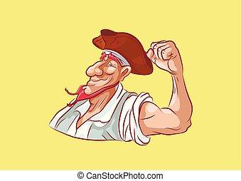 emoji sticker seaman captain shows strength