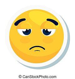 emoji sulky, face yellow sulky, on white background vector illustration design