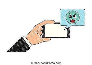 emoji, surprise, smartphone, bavarder, main