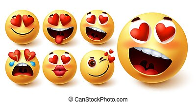 Emoji valentines vector set. Smiley emojis yellow face in heart eyes with different facial expression