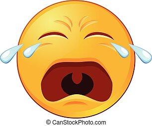 emoji, vecteur, pleurer, icône
