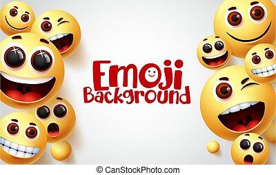 Emoji vector background design. Smiley emoji and smile faces emoticons