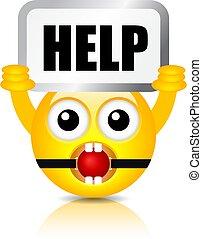 Emoji vector cartoon with Help sign