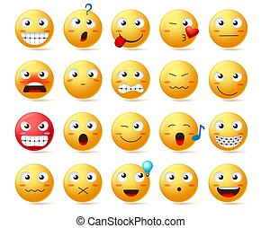 Emoji vector icon set. Smiley face or yellow emoticons with various facial expression like angry face, smiling teeth and confused isolated in white background. Vector illustration.