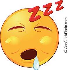 emoji, vektor, nyál, csöpögő, alvás