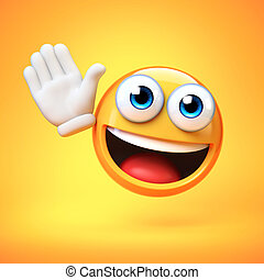 Emoji waving with one hand isolated on yellow background, ...