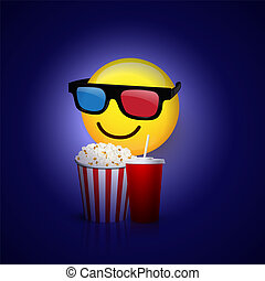 Emoji with 3D glasses, popcorn and cola isolated on blue background. Vector design element.