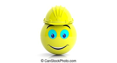 Emoji with a construction helmet on white background. 3d illustration