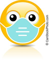 Emoji with face mask vector cartoon