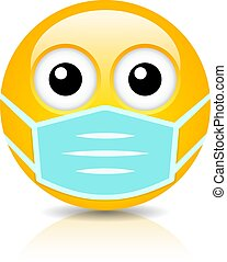 Emoji with face mask, vector cartoon