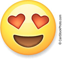 Emoji with heart-shaped eyes, emoticon smiling face